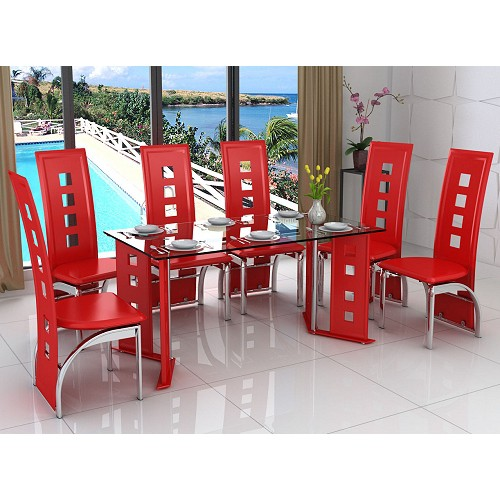 Laura 6 Seat Red Dining Set with Faux Leather Chairs