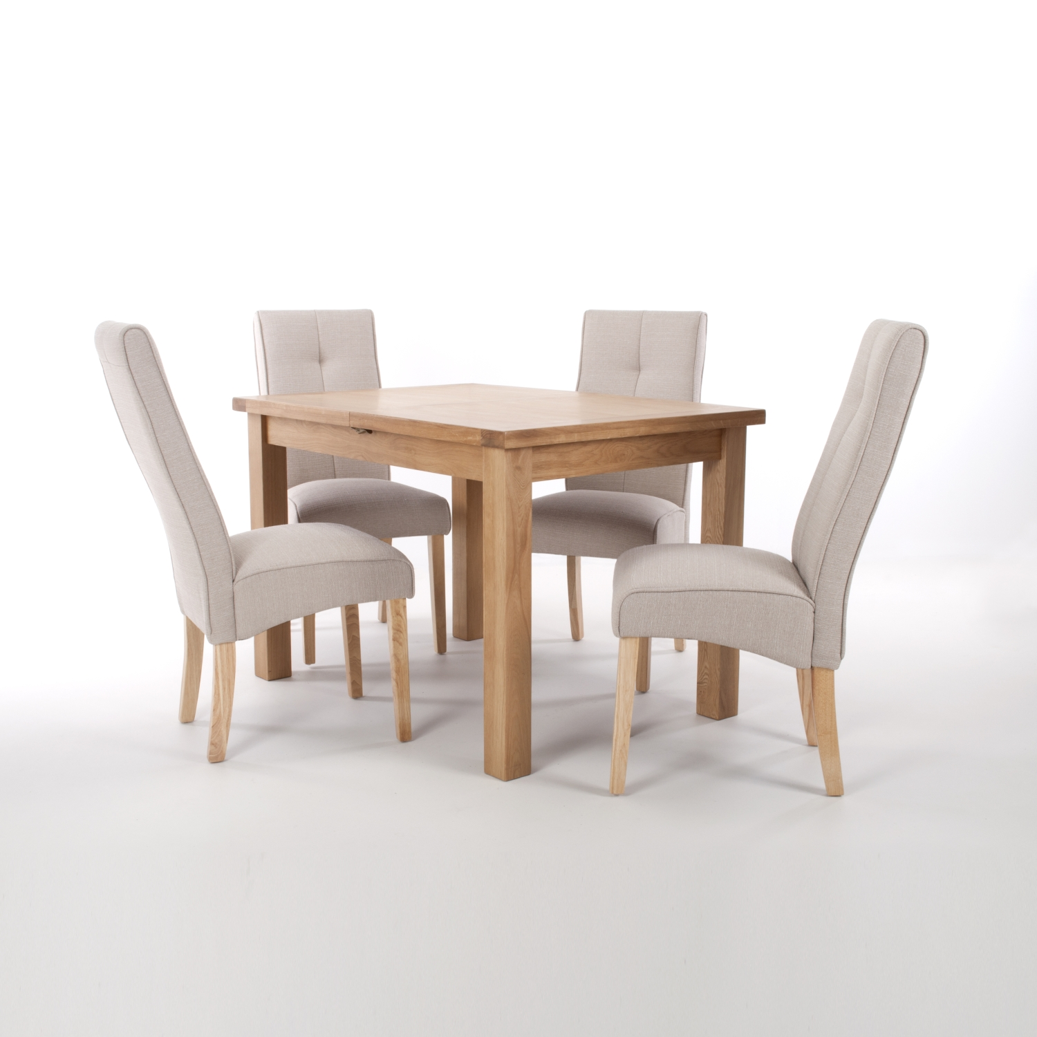 Solid Oak Extendable Dining Table with 4 Falcon Grey Linen Effect Linea Chairs