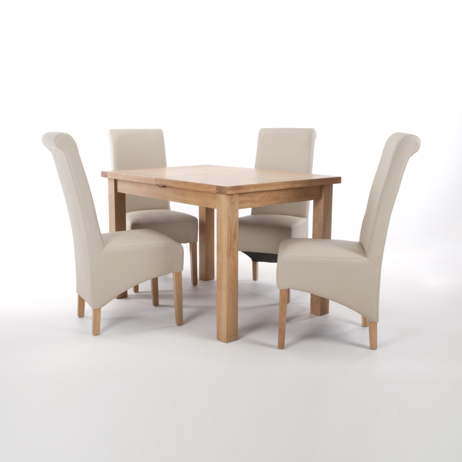 Solid Oak Extendable Dining Table with 4 Brown Matt Leather Match Roll Back Dining Chairs