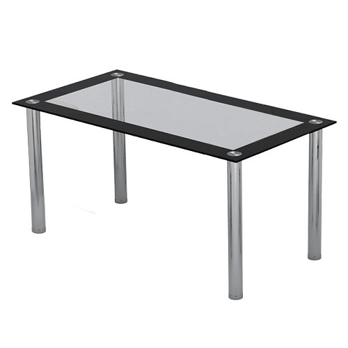 Image of 6 Seater Black and Clear Glass Dining Table with Chrome Legs