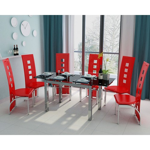 Image of Alma 6 Seater Extendable Black Glass Dining Set