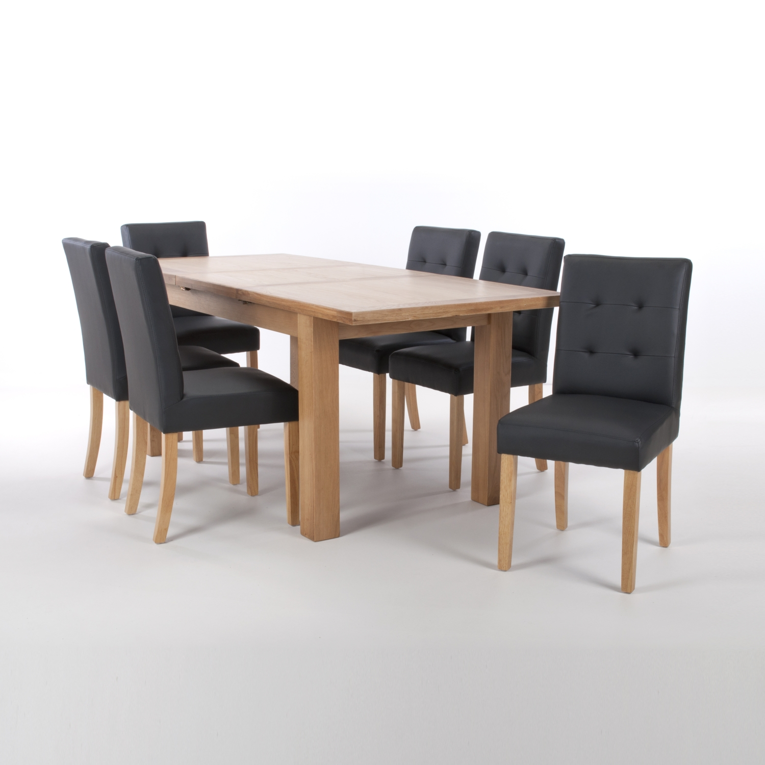 Solid Oak Extendable Dining Table with 8 Stitched Back Chairs in Matt Leather Effect Black with Natural legs