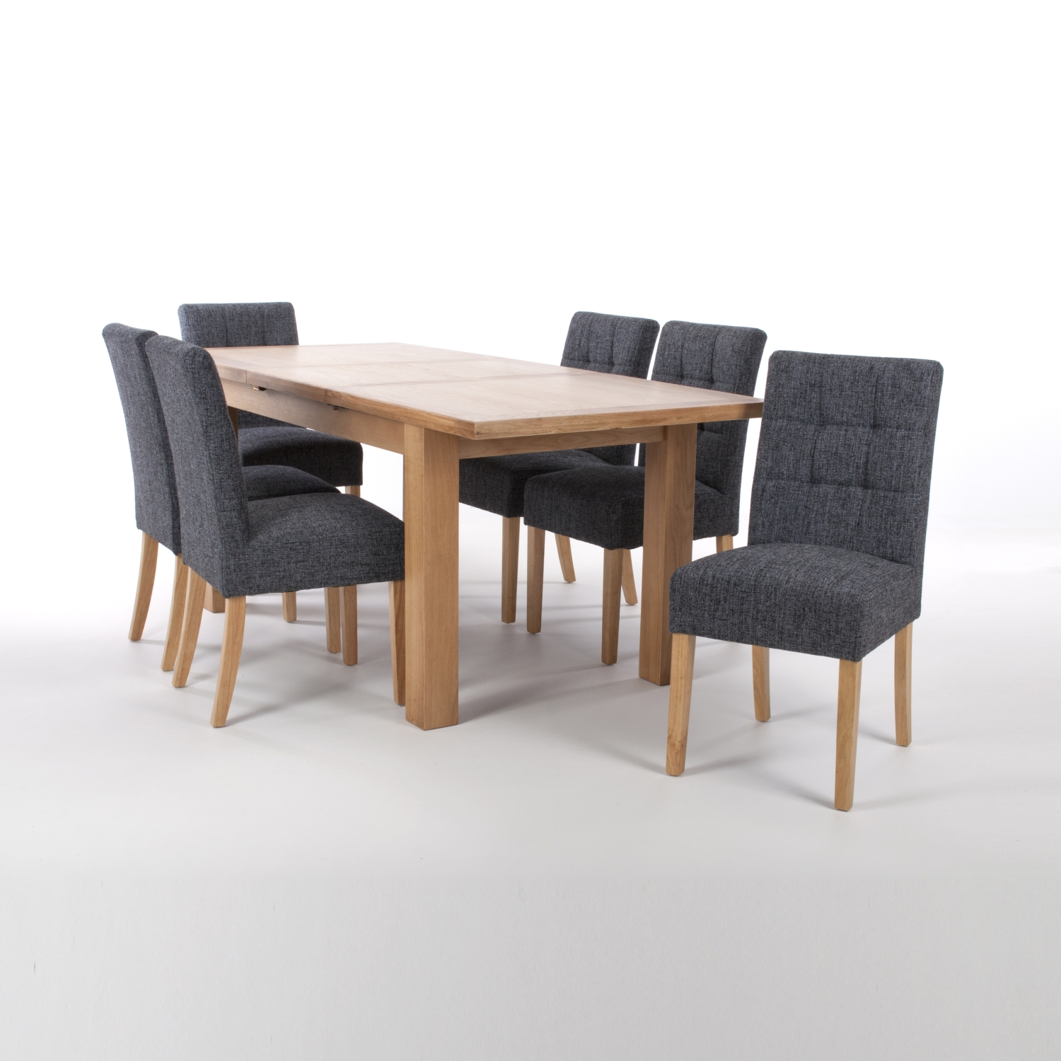 Solid Oak Extendable Dining Table with 8