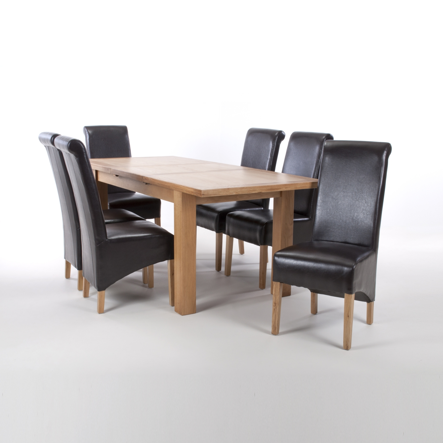Solid Oak Extendable Dining Table with 8 Brown Leather Match Roll Back Dining Chairs