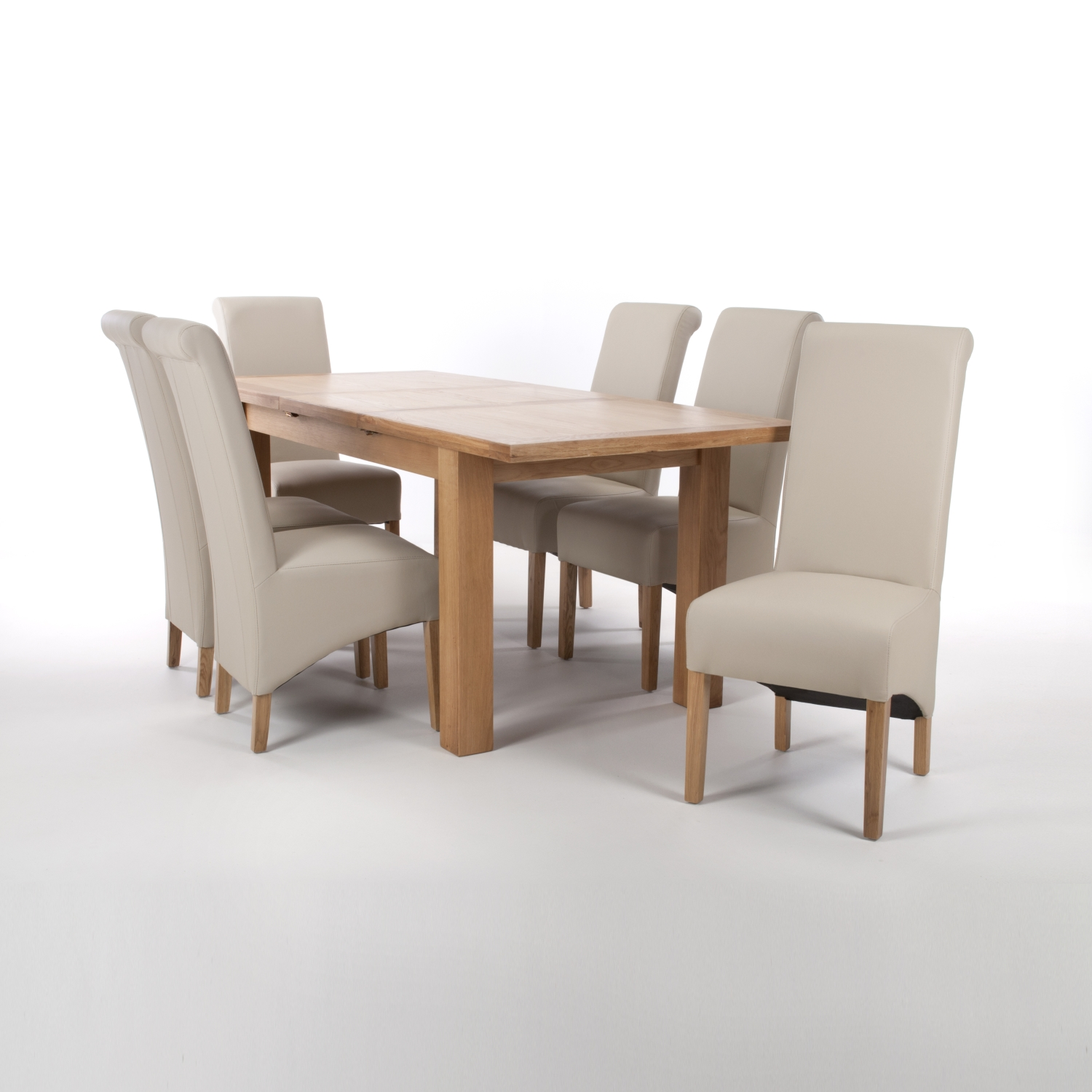 Solid Oak Extendable Dining Table with 8 Black Matt Leather Match Roll Back Dining Chairs
