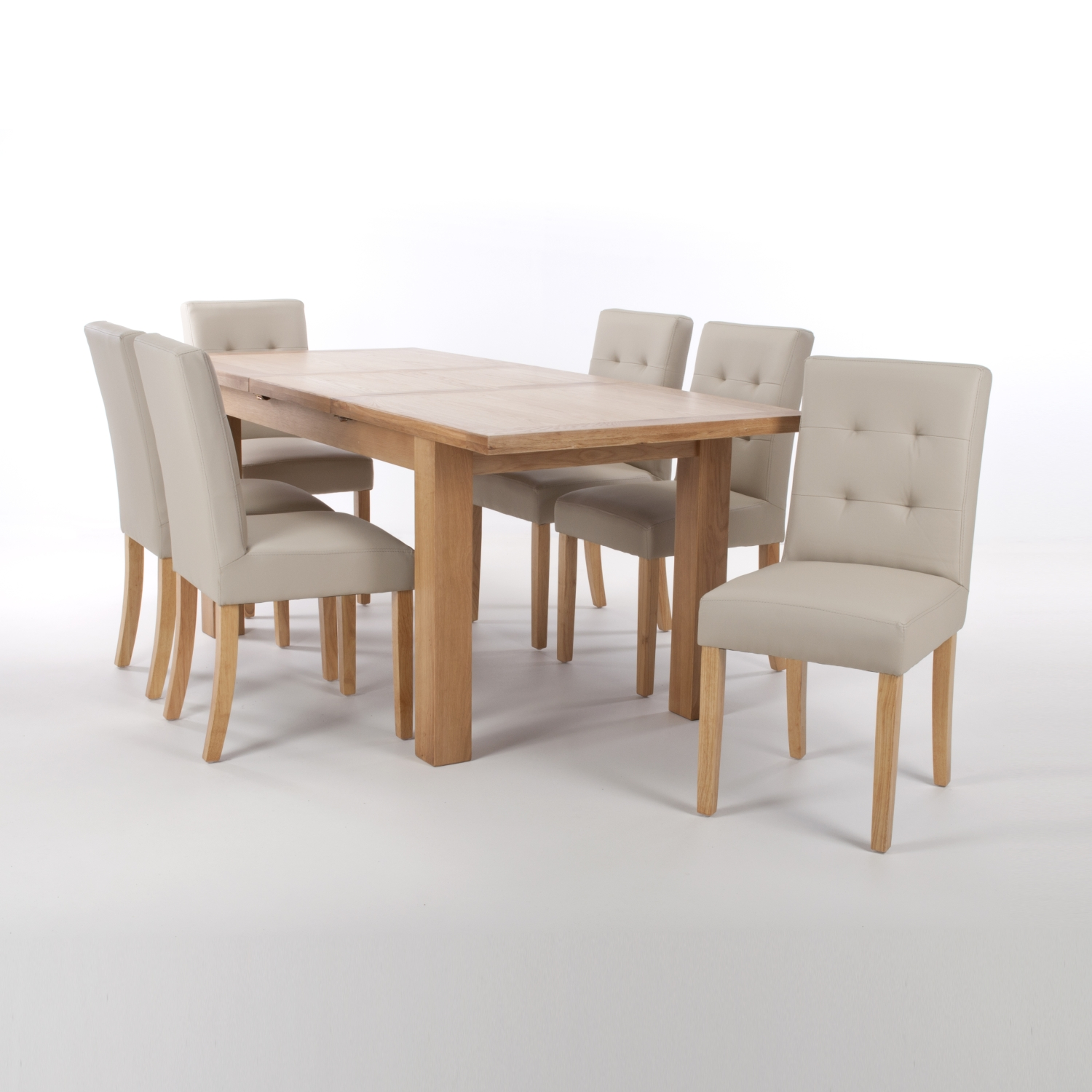 Solid Oak Extendable Dining Table with 6 Stitched Back Chairs in Matt Leather Effect Black with Natural legs