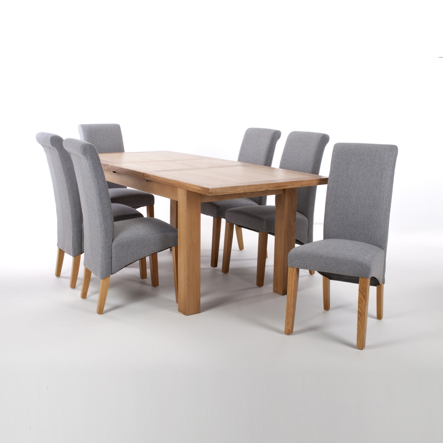 Solid Oak Extendable Dining Table with 6 Scroll Back Chairs in Linen Effect Sliver Grey