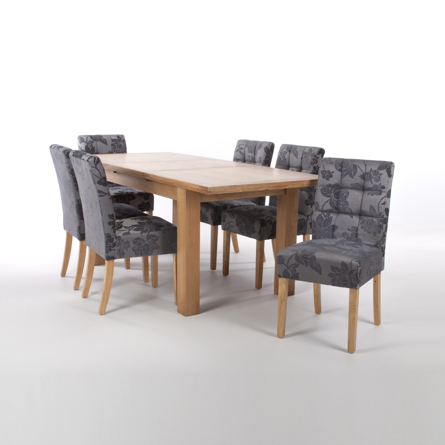 Solid Oak Extendable Dining Table with 6 Stitched Waffle Back Chairs in Linen Effect Steel Grey with Natural legs