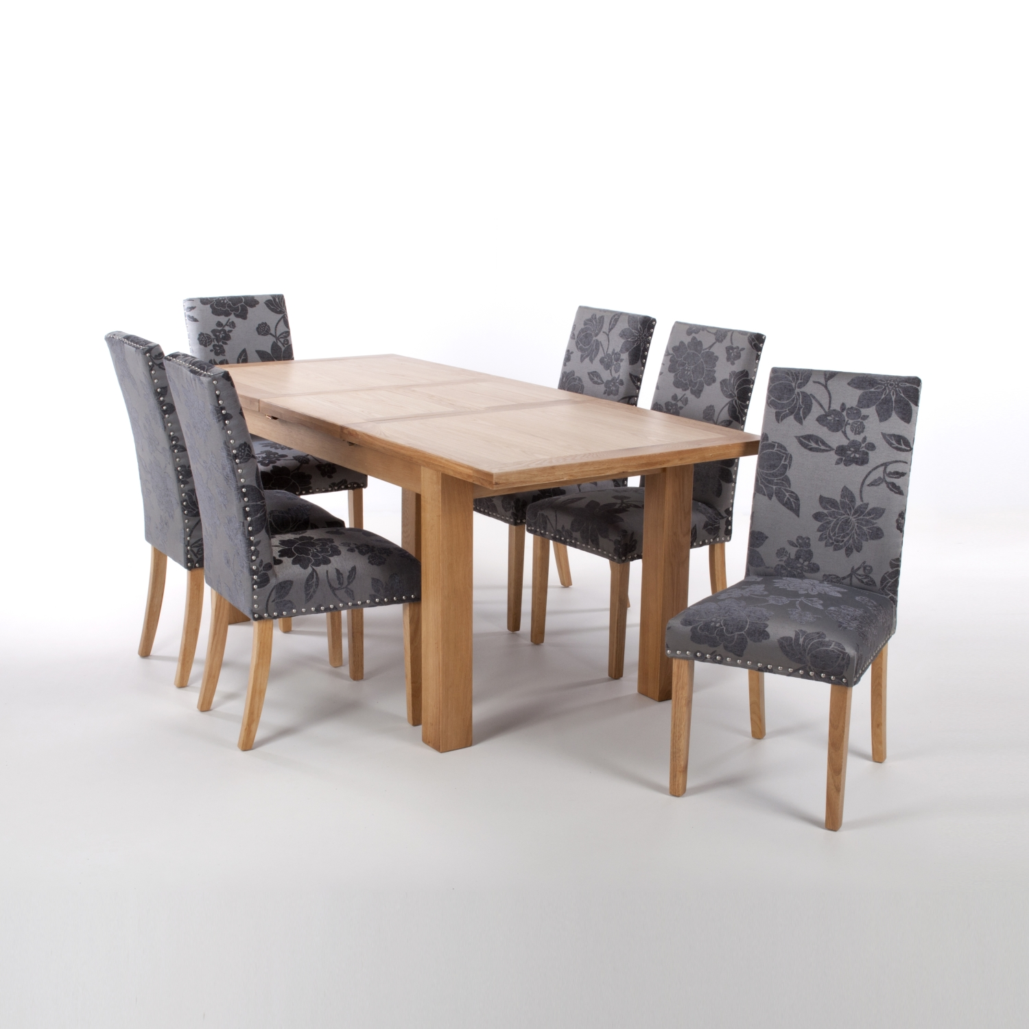 Solid Oak Extendable Dining Table with 8 Stud Detail Chairs in Linen Effect Silver Grey with Natural legs