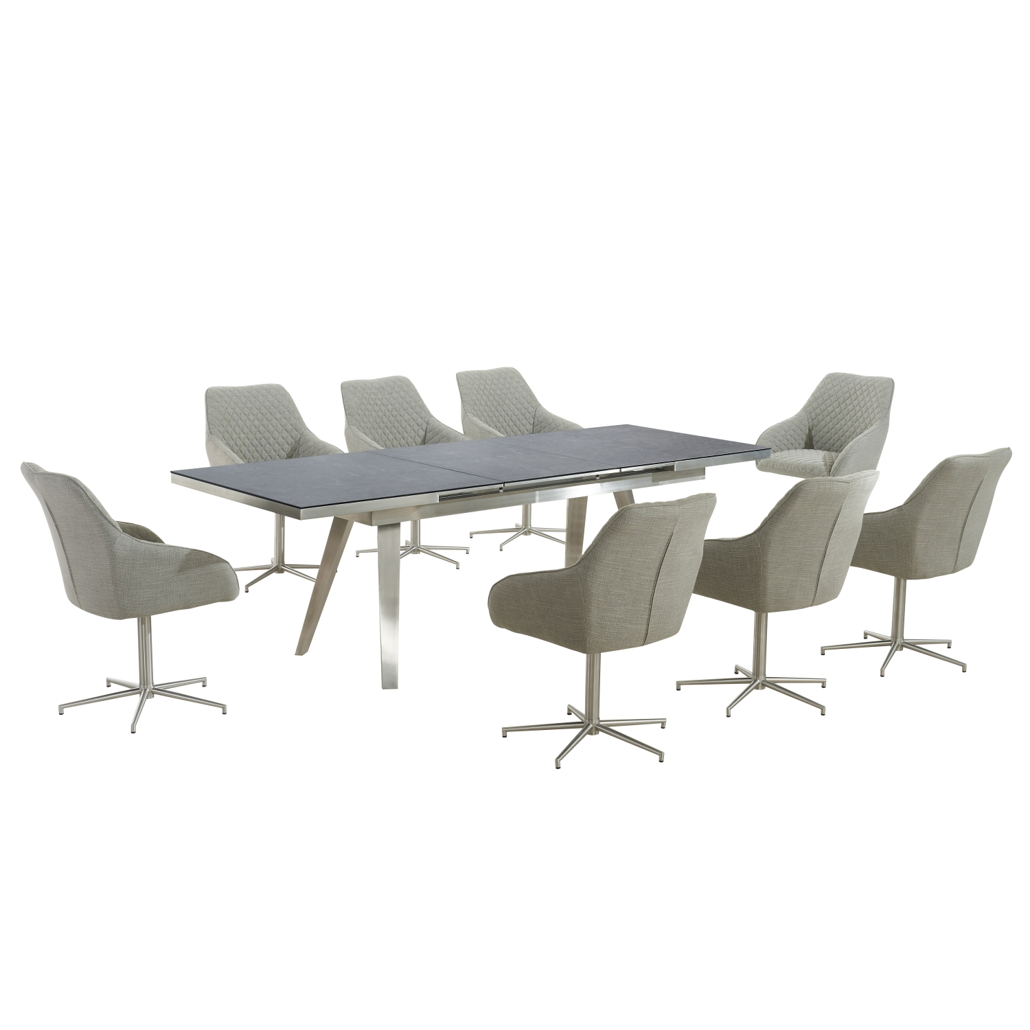 Antique Grey Extendable Dining Table with 6 Natural Textured Linen Effect Quilted Swivel Base Innerspace Chairs