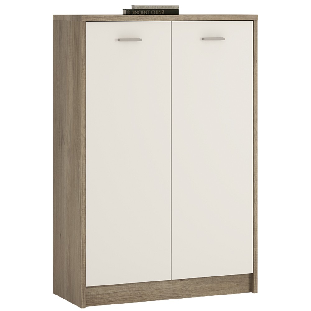 4 You Tall 2 Door Cupboard In Canyon Grey & Pearl White