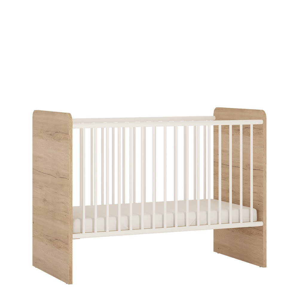 Image of 4Kids Cot In Light Oak And White High Gloss