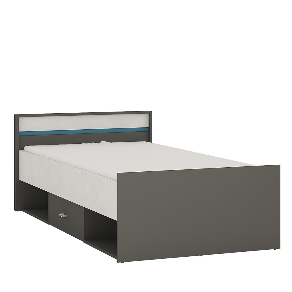 Image of Alien Single Bed With Drawer And Open Storage In Graphite/Light Grey