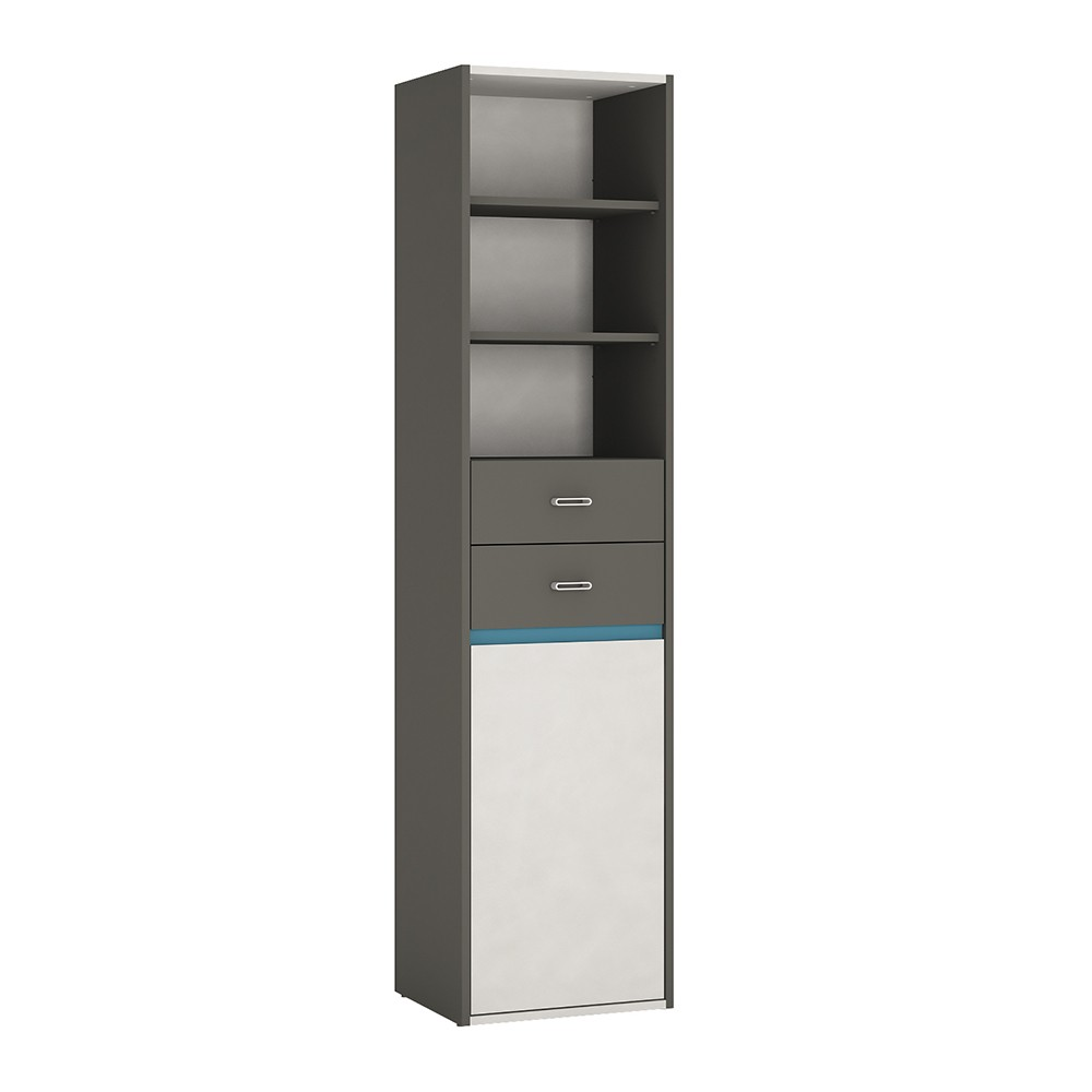 Image of Alien Tall Narrow 1 Door 2 Drawer Bookcase In Graphite/Light Grey