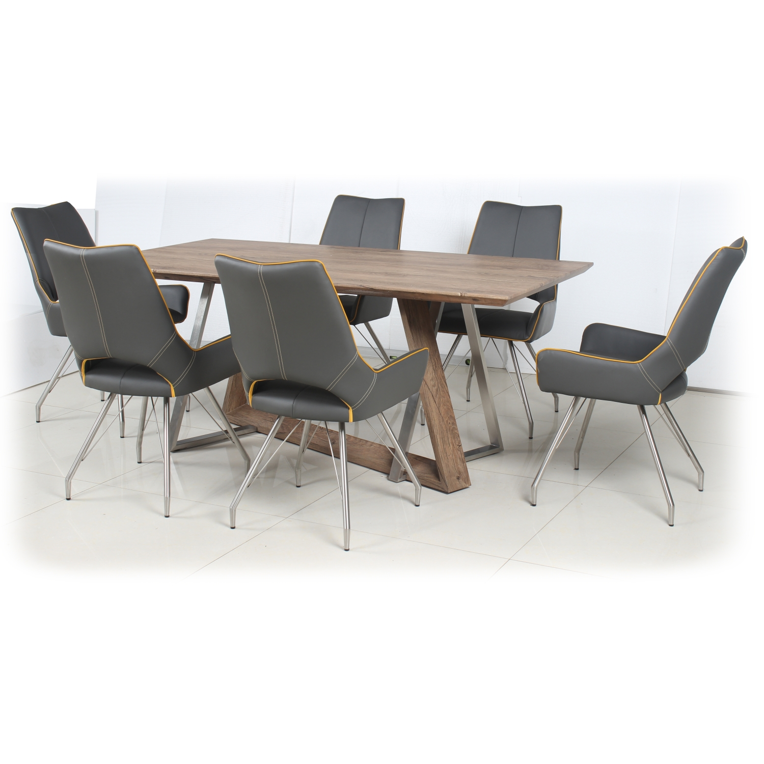 Light Auburn Dining Table with 4 Medallion Yellow Leather Match Dining Chairs With Piping