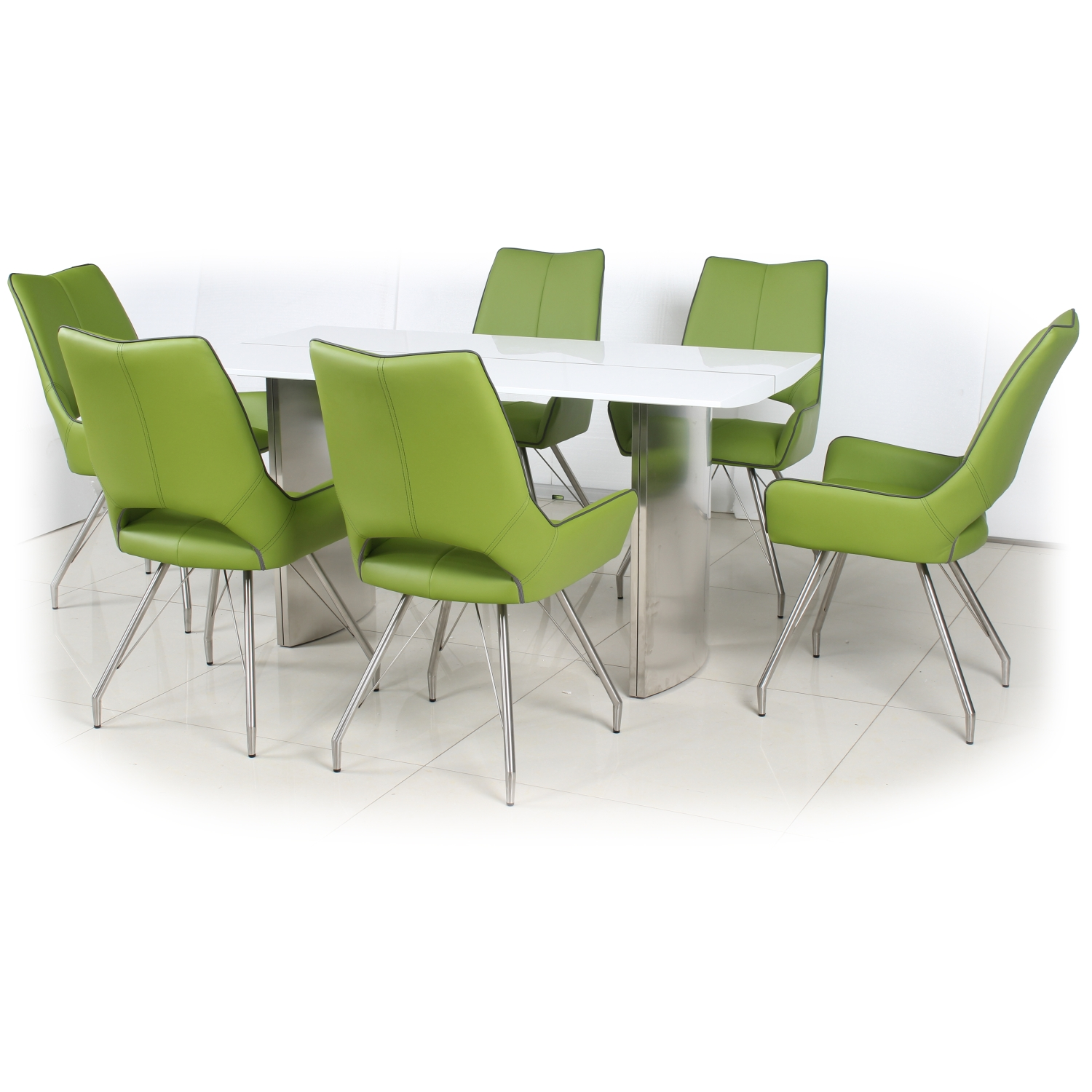 White High Gloss Dining Table with 4 Graphite Grey Leather Effect Chairs with Piping