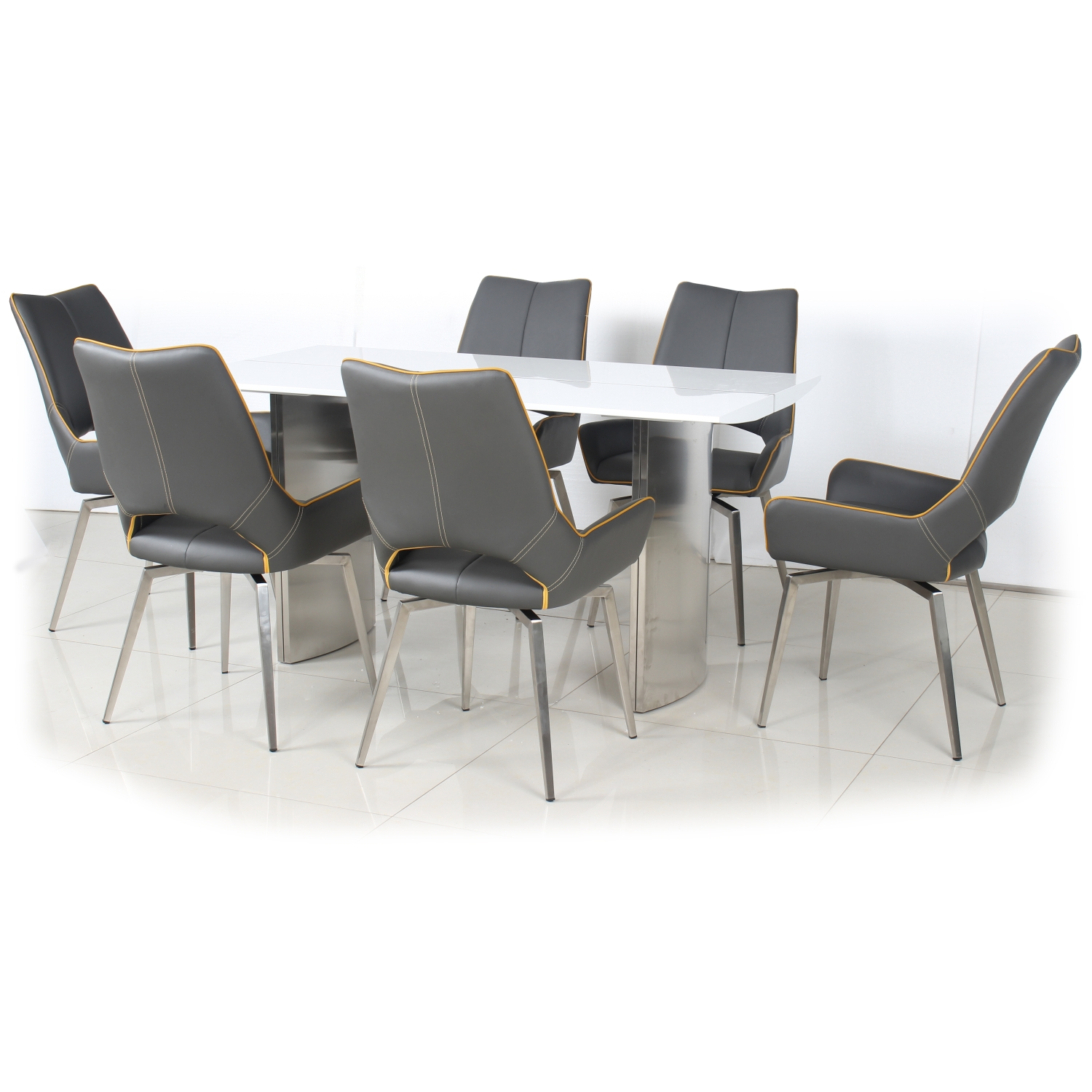 White High Gloss Dining Table with 4 Graphite Grey Leather Effect Swivel Chairs