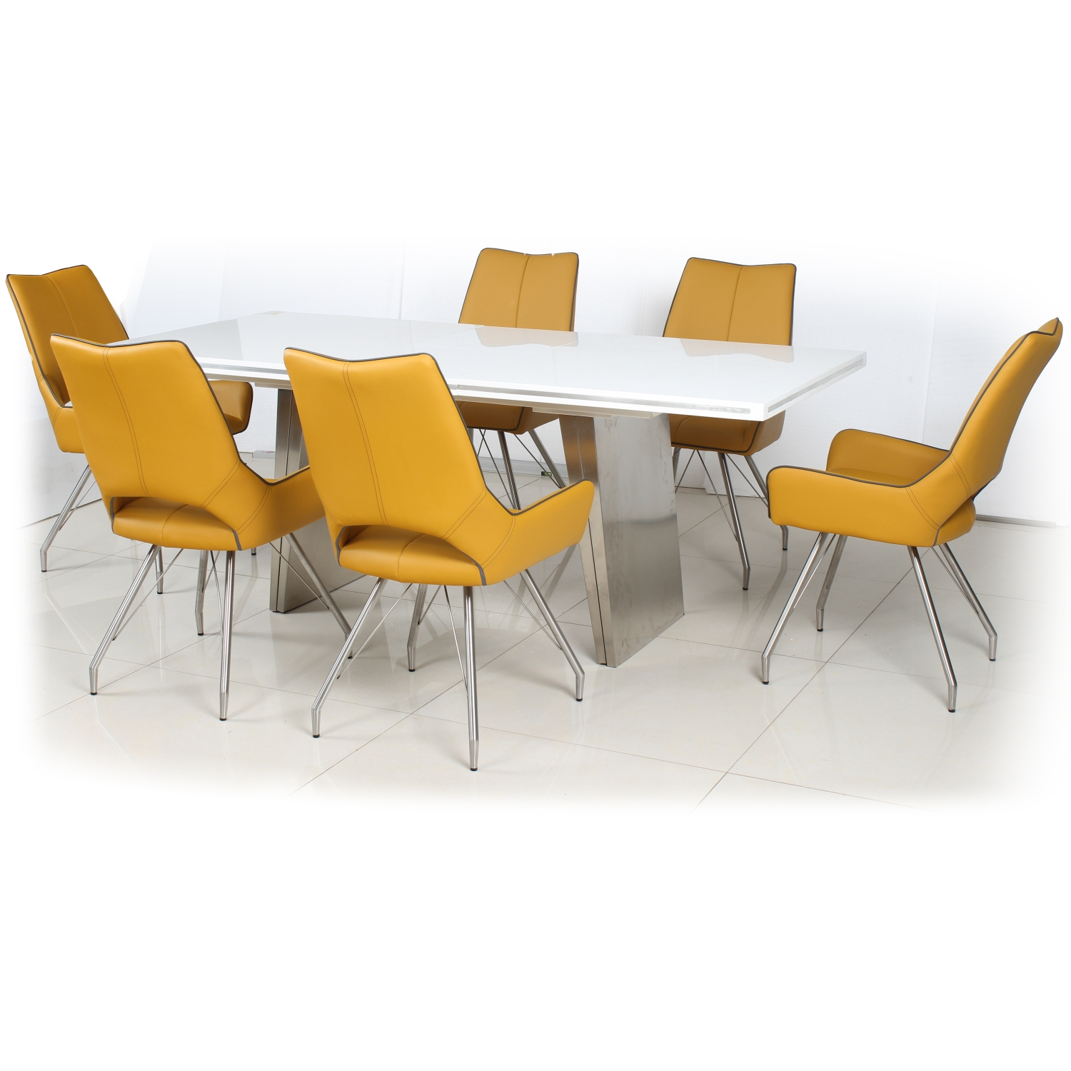 White High Gloss Extendable Dining Table with 6 Grass Green Leather Effect Chairs with Piping