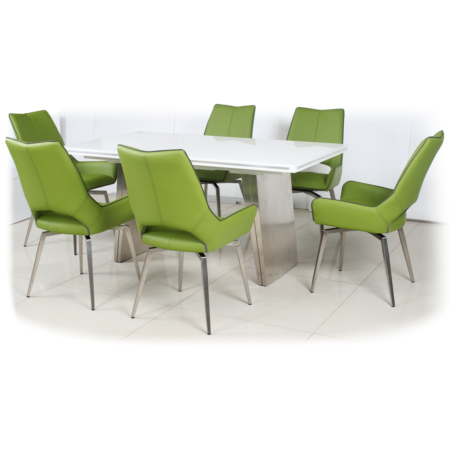 White High Gloss Extendable Dining Table with 6 Graphite Grey Leather Effect Swivel Chairs