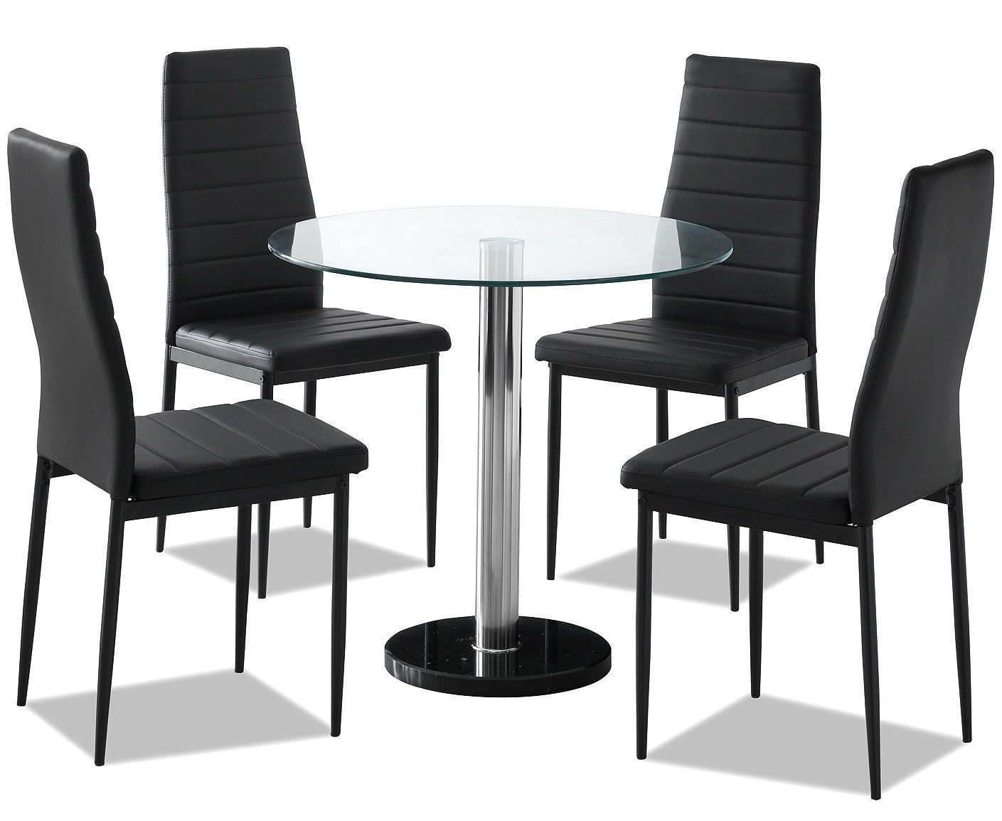 New Sienna Round Clear Glass Dining Set With 4 Black Faux Leather chairs