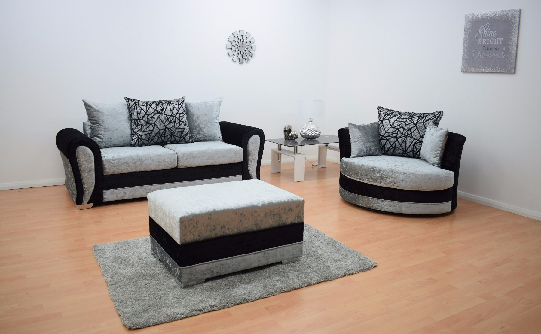 Paris Velvet 3 Seater Hand Crafted sofa & Cuddle Chair with Footstool - Black & Silver