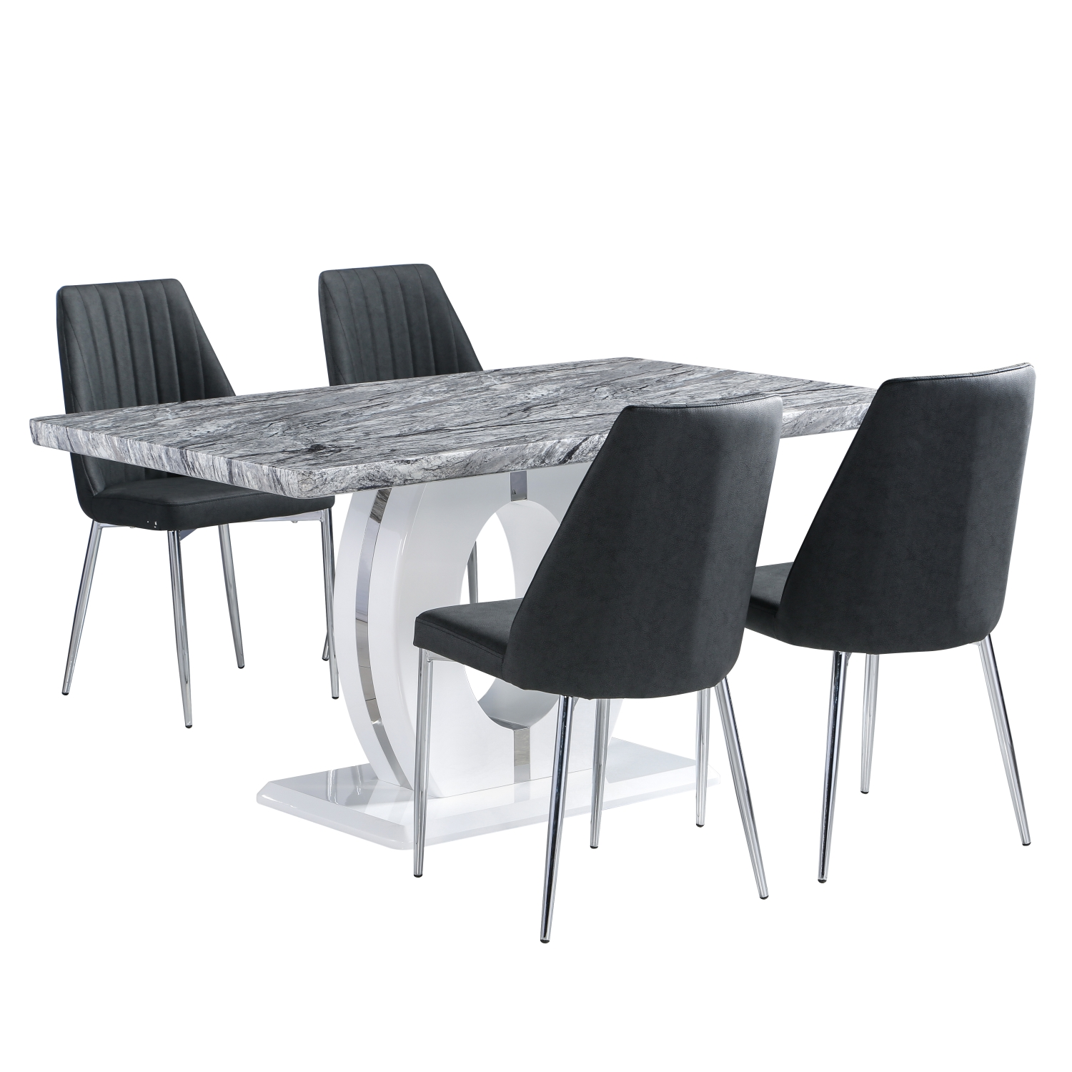Marble Top Effect Dining Table with 4 Odeon Grey dining Chairs