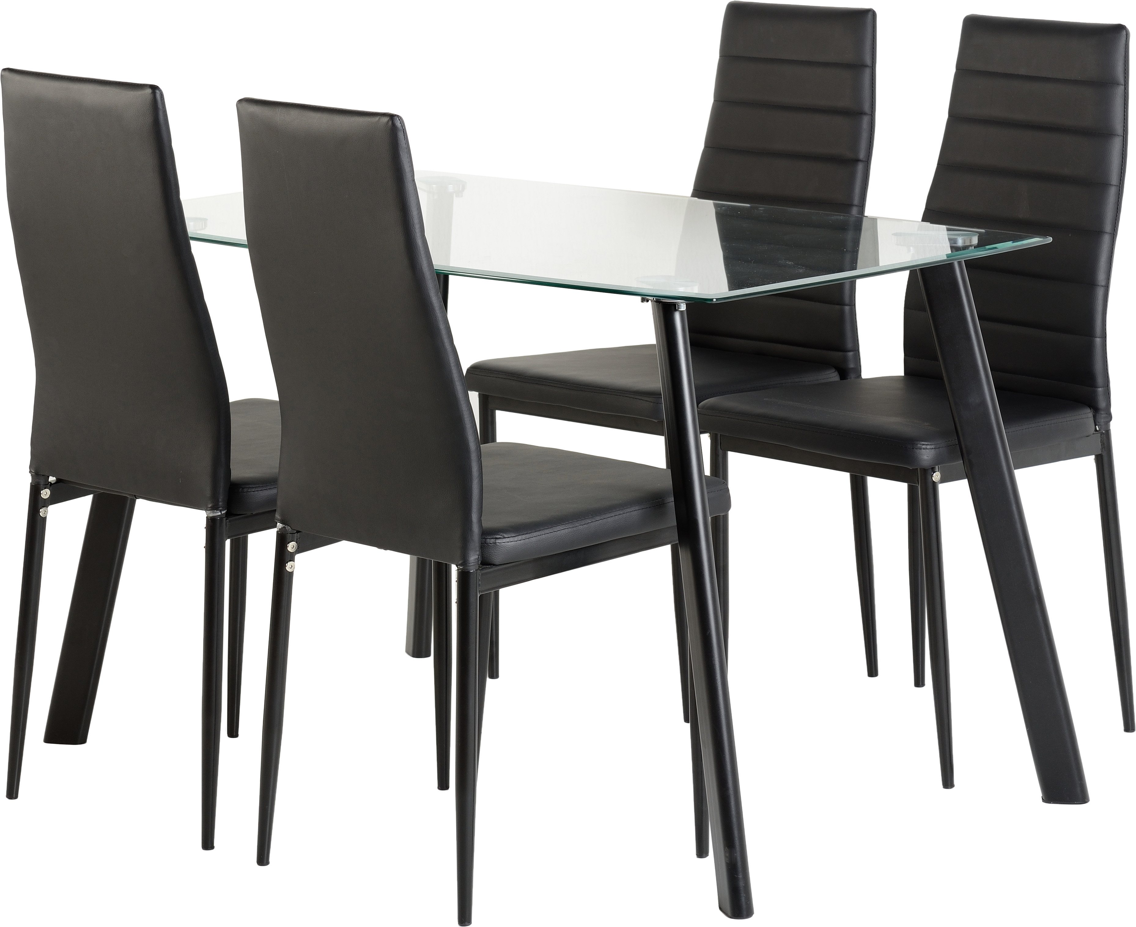 Image of Abbey 4 Seater Dining Set in Clear Glass & Black