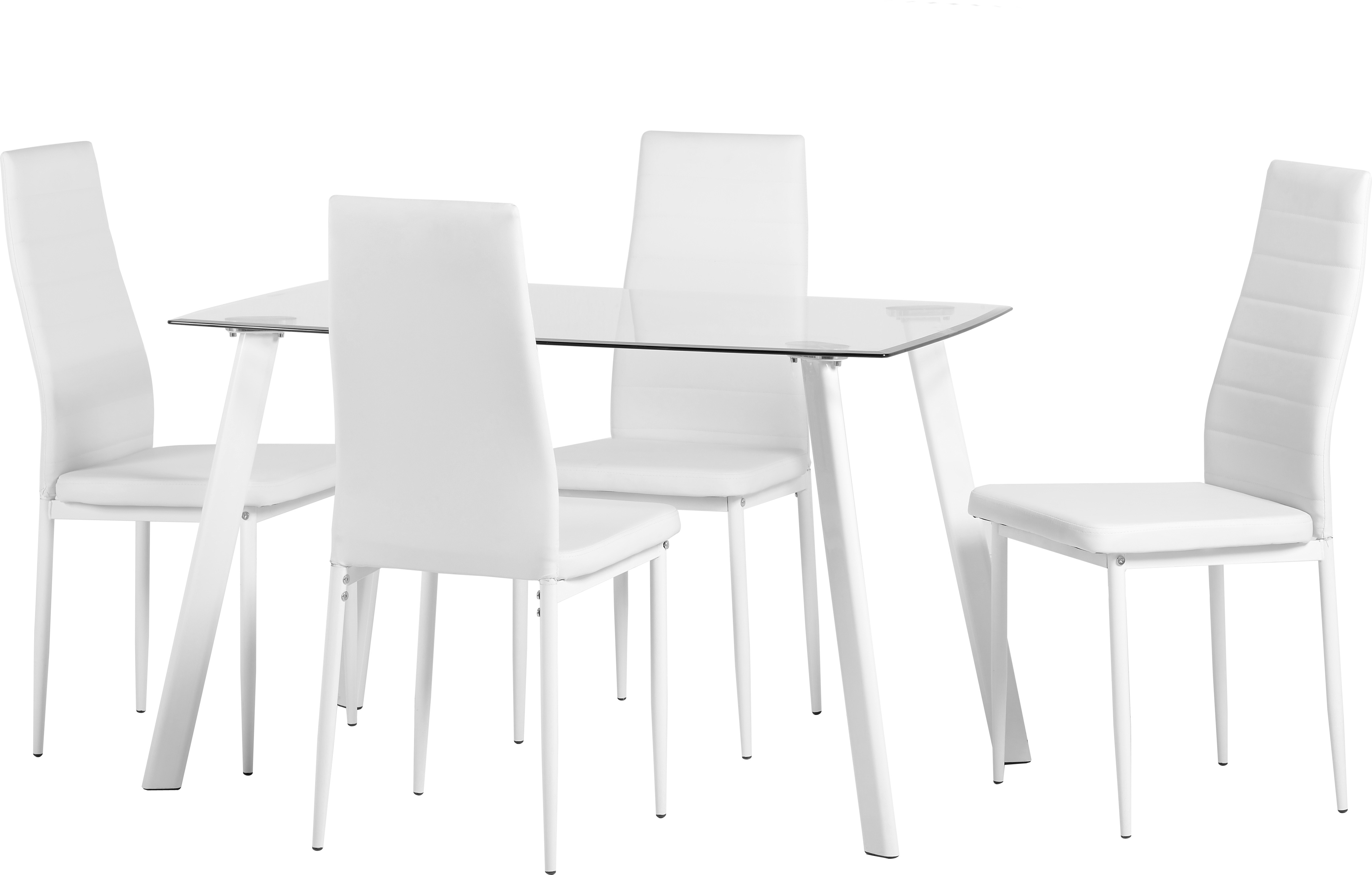 Image of Abbey 4 Seater Dining Set in Clear Glass & White & White
