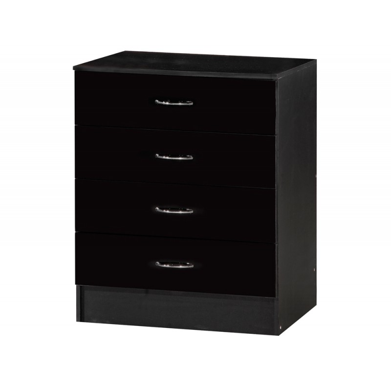 Image of Alpha Black Gloss Two Tone Chest Of 4 Drawers