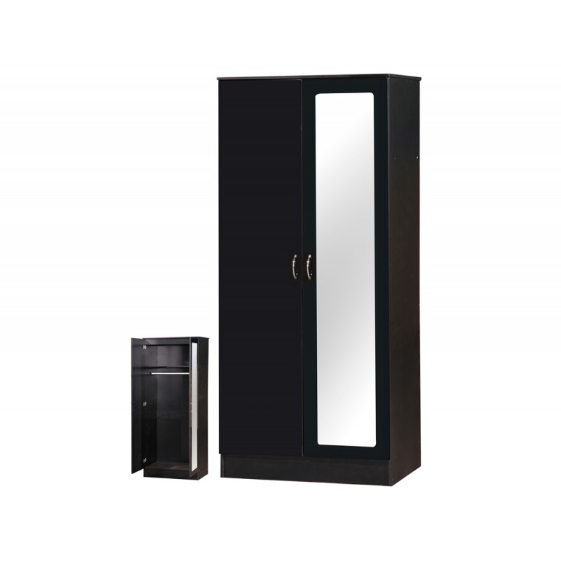 Image of Alpha Black Gloss Two Tone 2 Door Mirrored Wardrobe