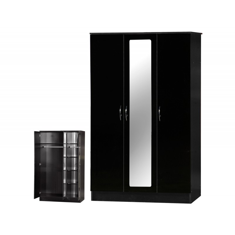Image of Alpha Black Gloss Two Tone 3 Door Mirrored Wardrobe
