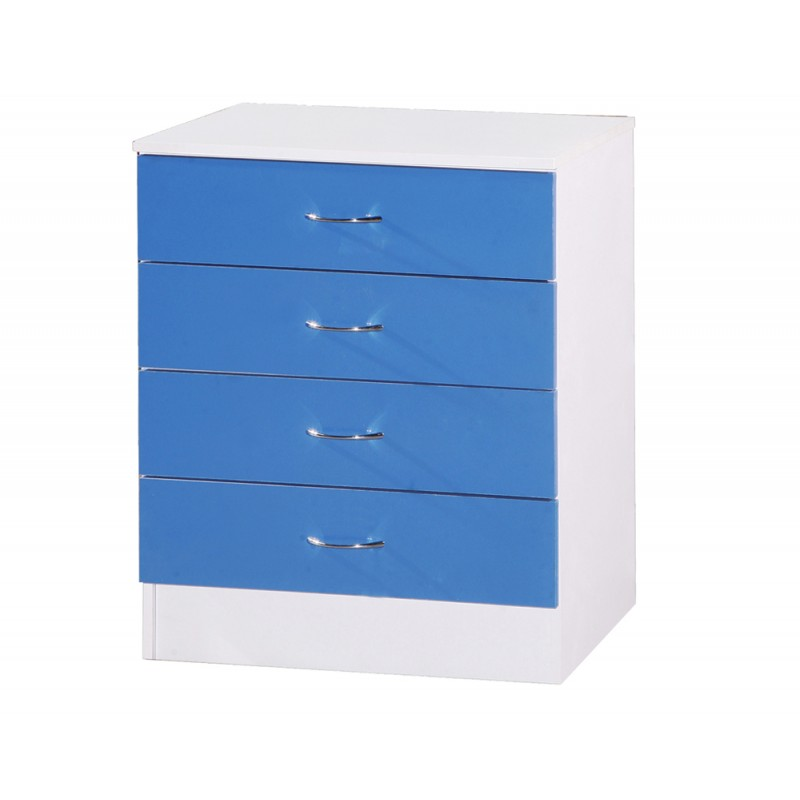 Image of Alpha Blue Gloss & White Chest Of 4 Drawers