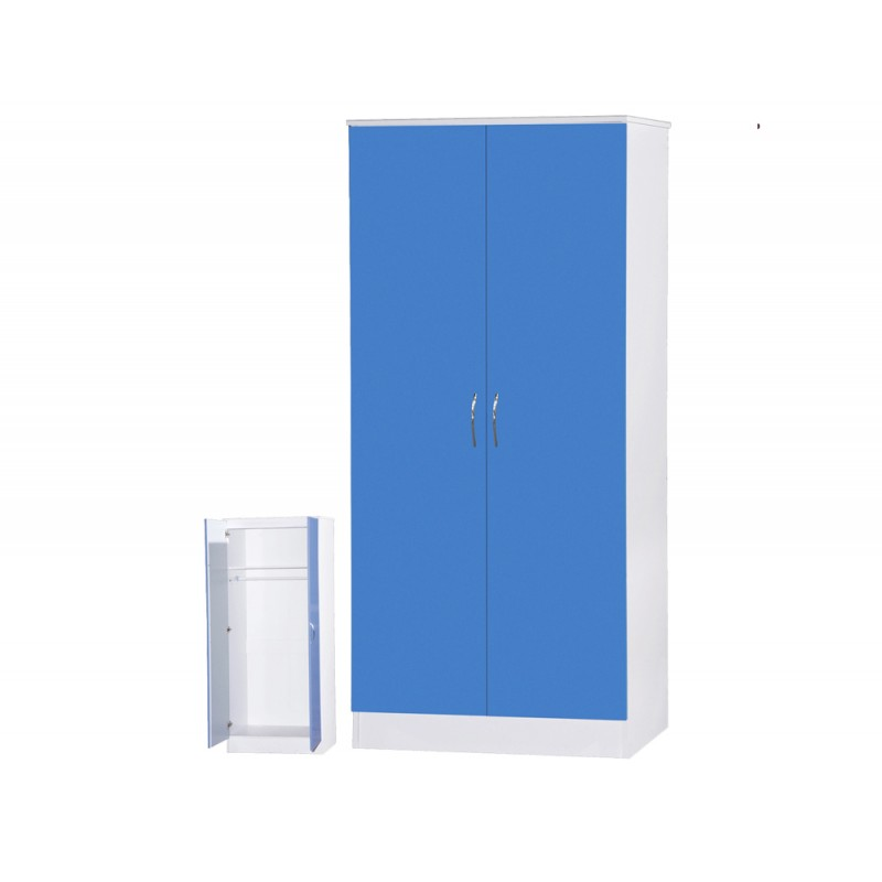 Image of Alpha Blue Gloss & White 2 Door Standard Wardrobe