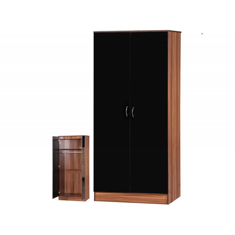 Image of Alpha Black Gloss & Walnut 2 Door Standard Wardrobe