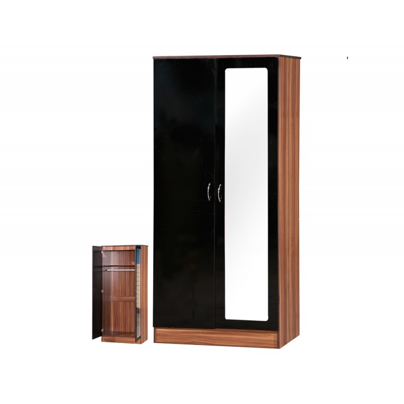 Image of Alpha Black Gloss & Walnut 2 Door Mirrored Wardrobe