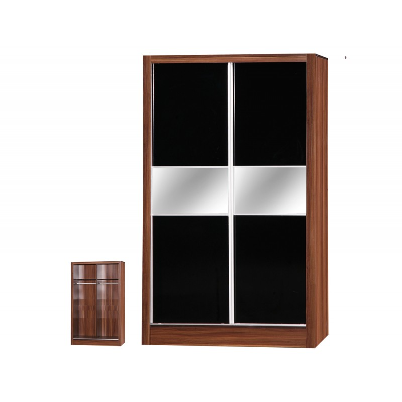 Image of Alpha Black Gloss & Walnut 2 Door Sliding Wardrobe