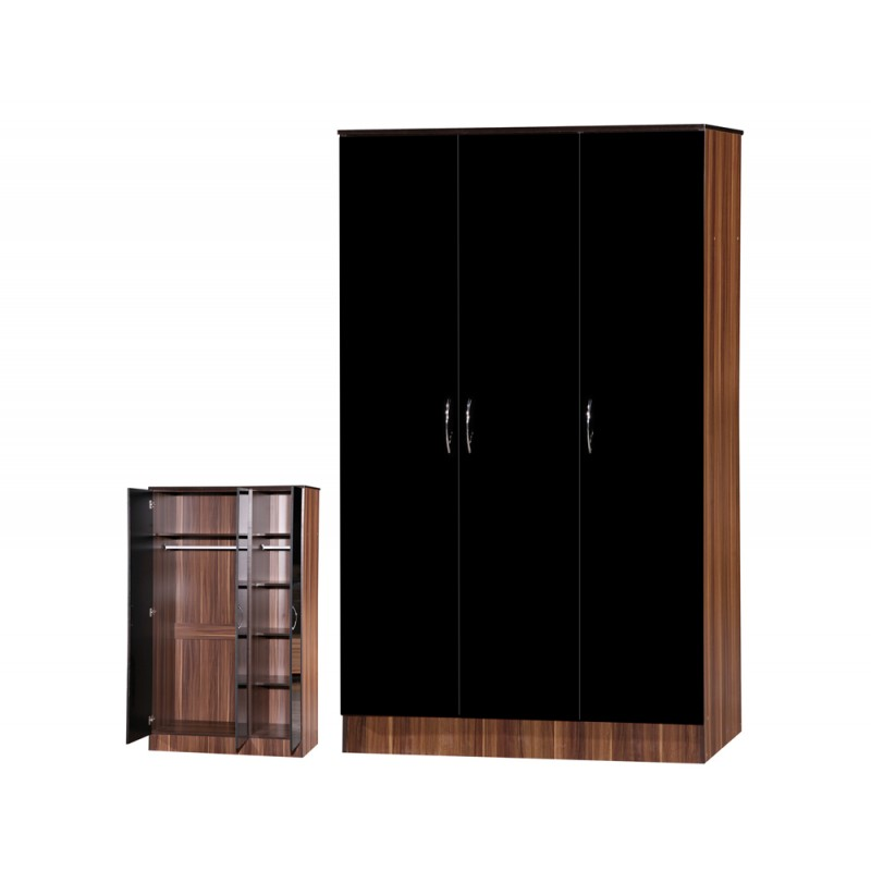 Image of Alpha Black Gloss & Walnut 3 Door Standard Wardrobe
