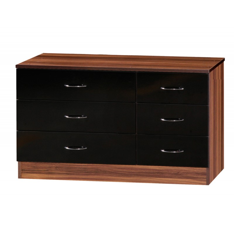 Image of Alpha Black Gloss & Walnut Chest Of 6 Drawers
