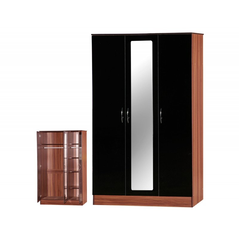 Image of Alpha Black Gloss & Walnut 3 Door Mirrored Wardrobe