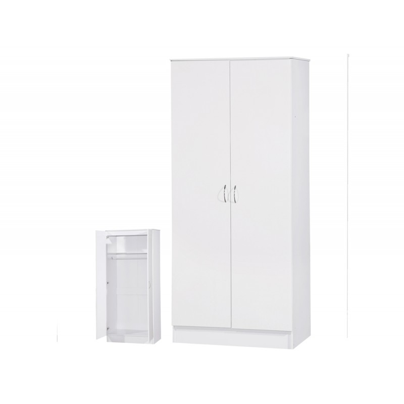 Image of Alpha White Gloss Two Tone 2 Door Standard Wardrobe