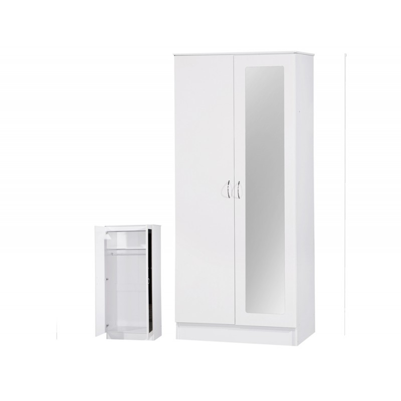 Image of Alpha White Gloss Two Tone 2 Door Mirrored Wardrobe
