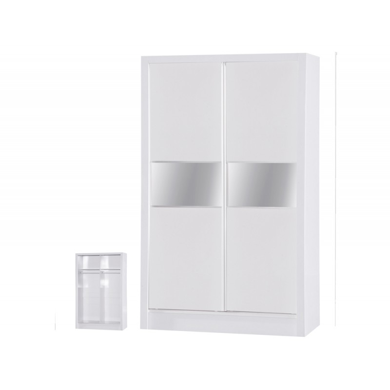 Image of Alpha White Gloss Two Tone 2 Door Sliding Wardrobe
