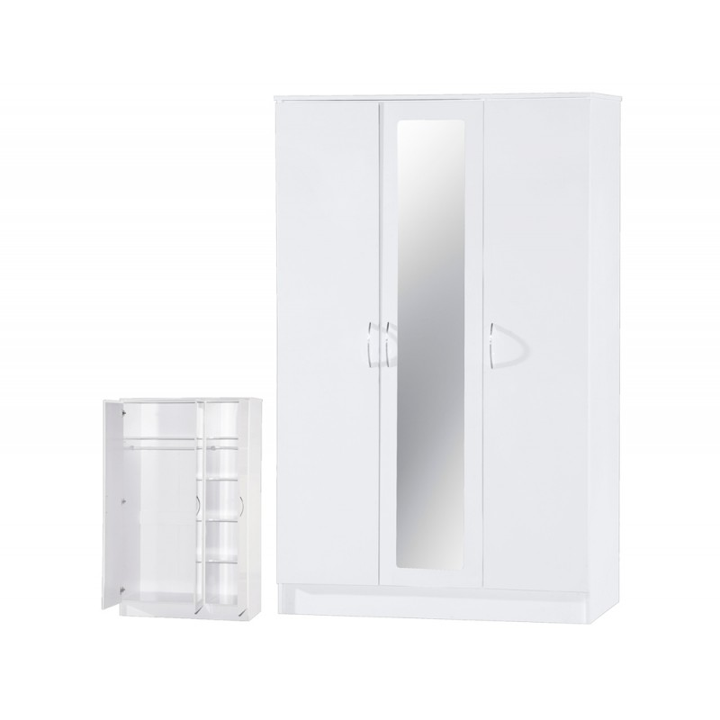 Image of Alpha White Gloss Two Tone 3 Door Mirrored Wardrobe