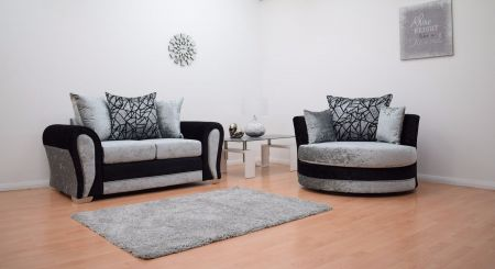 Paris Velvet 2 Seater Hand Crafted sofa & Cuddle Chair - Black & Silver