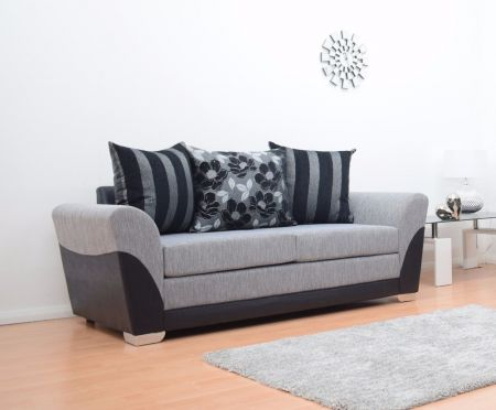 Vermont 3 Seater Hand Crafted Sofa - Black & Grey