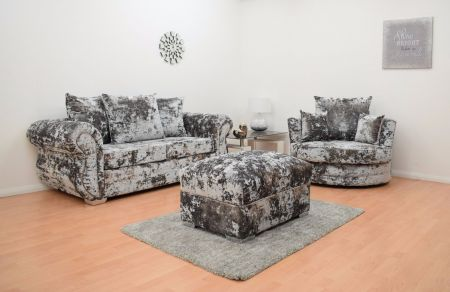 Windsor Double Crushed Velvet 3 Seater Hand Crafted Sofa & Cuddle Chair with Footstool - Grey