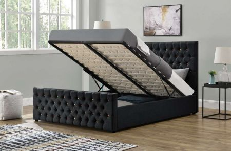 Smartie Ottoman Fabric Black Double Bed Frame