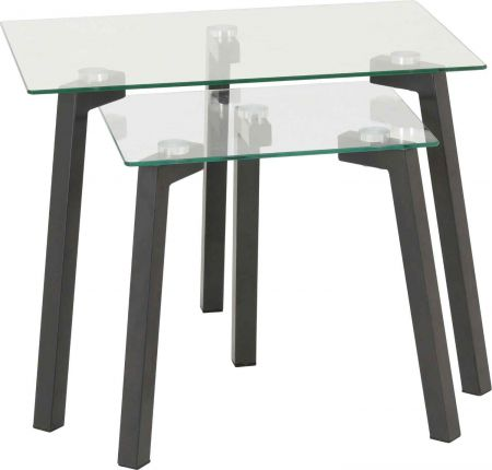 Abigail Nest of Tables Clear Glass and Grey