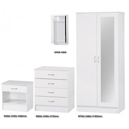 Alpha White Gloss Two Tone 2 Door Mirrored Set