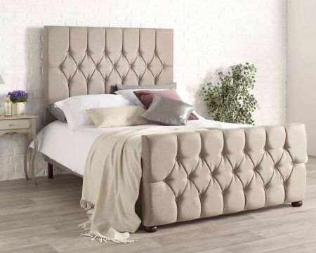 Diyana Modern Bed Frame Luxury Eire Linen Style Fabric with Solid Feet